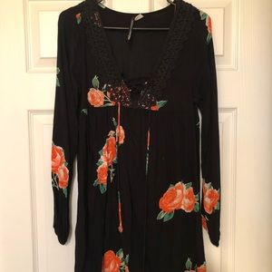 Black with floral long sleeve dress